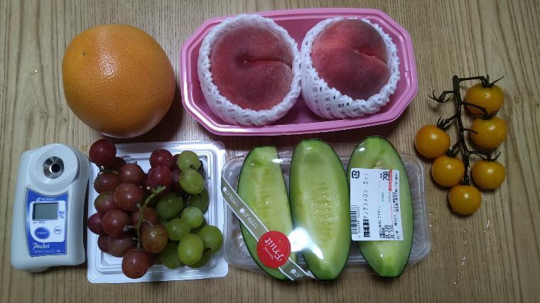 果物とミニトマトの糖度比較
