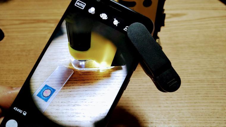 スマホとハンディ顕微鏡