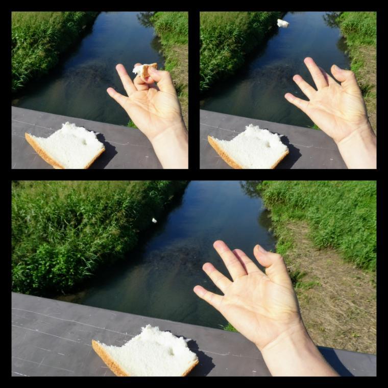 デコピンでパンを飛ばす
